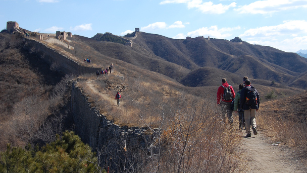 Hikers on the Great Wall, heading for a high tower