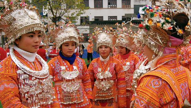 Colourful costumes of the Zhuang ethnic group
