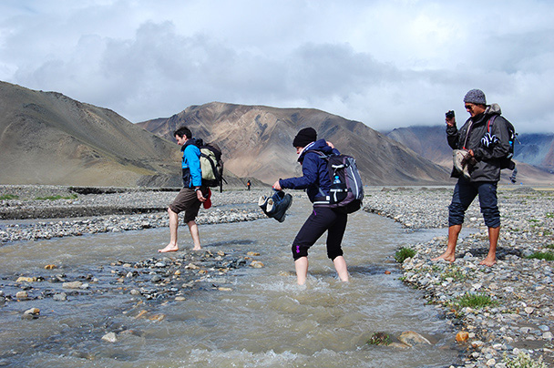 Another chilly crossing. Cold feet for a little while are better than wet boots for the rest of the trip, Beijing Hikers Kashgar and Lake Karakul trip 2013/08/20