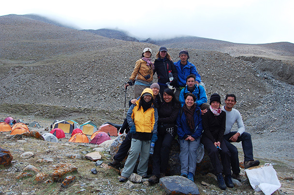 Team photo at the base camp of Muztagh-Ata, Beijing Hikers Kashgar and Lake Karakul trip 2013/08/20