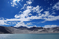 Clear skies over Lake Karakul.