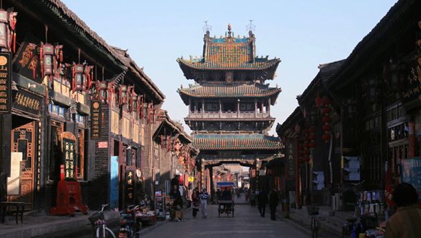 Pingyao's City Tower spans a cobbled lane