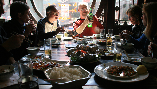 A big meal at a restaurant in Pingyao