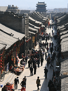 A view from above of a busy lane in Pingyao, Shanxi