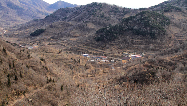 A view from the hills above a small village