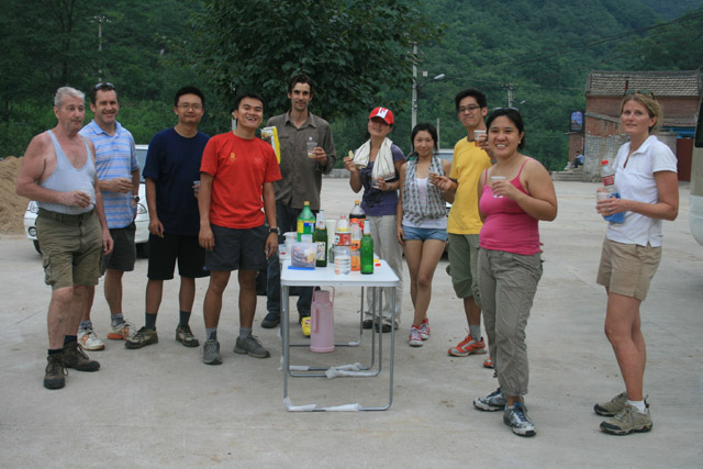 Snacks and drinks, Beijing Hikers Mines and Pines hike, 2009-06-27