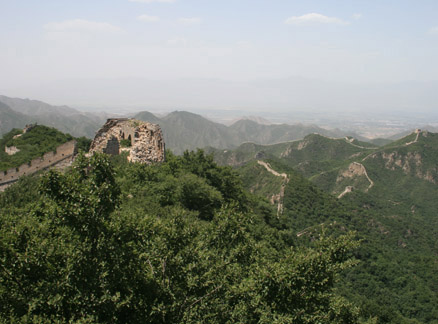 View of wall and towers, Beijing Hikers Switchback Great Wall hike, 2009-06-28